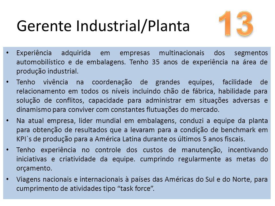 Gerente Industrial/Planta