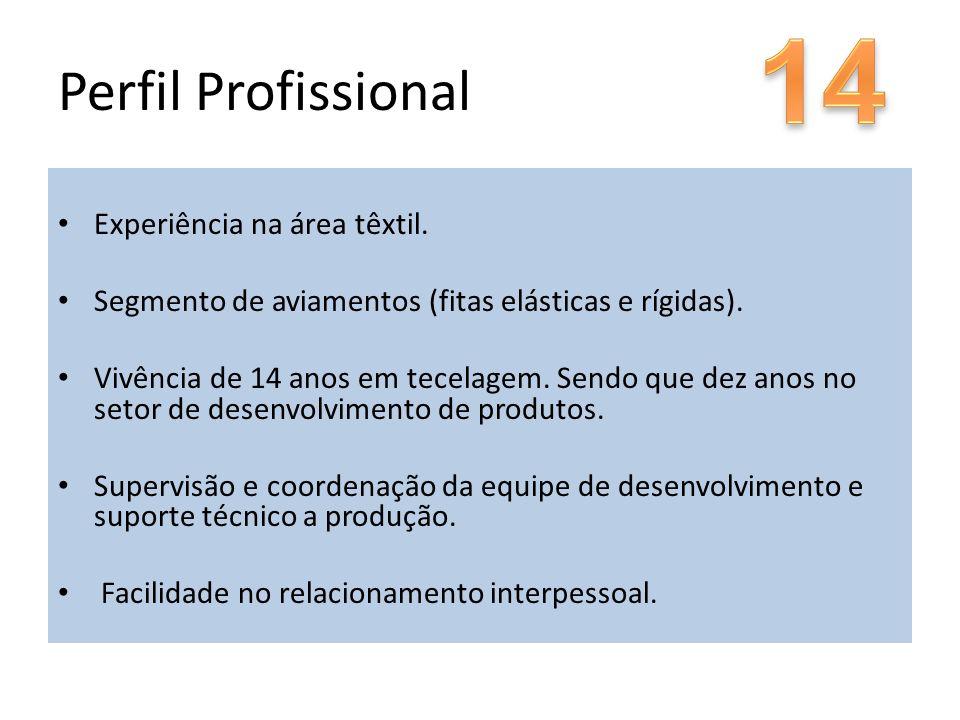 14 Perfil Profissional Experiência na área têxtil.