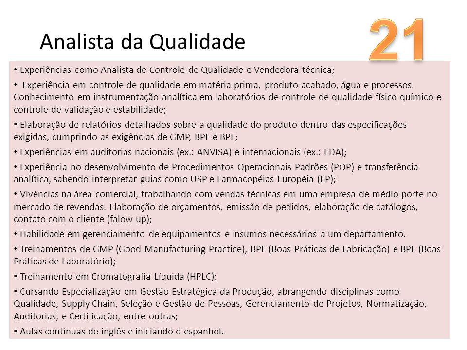 21 Analista da Qualidade. Experiências como Analista de Controle de Qualidade e Vendedora técnica;