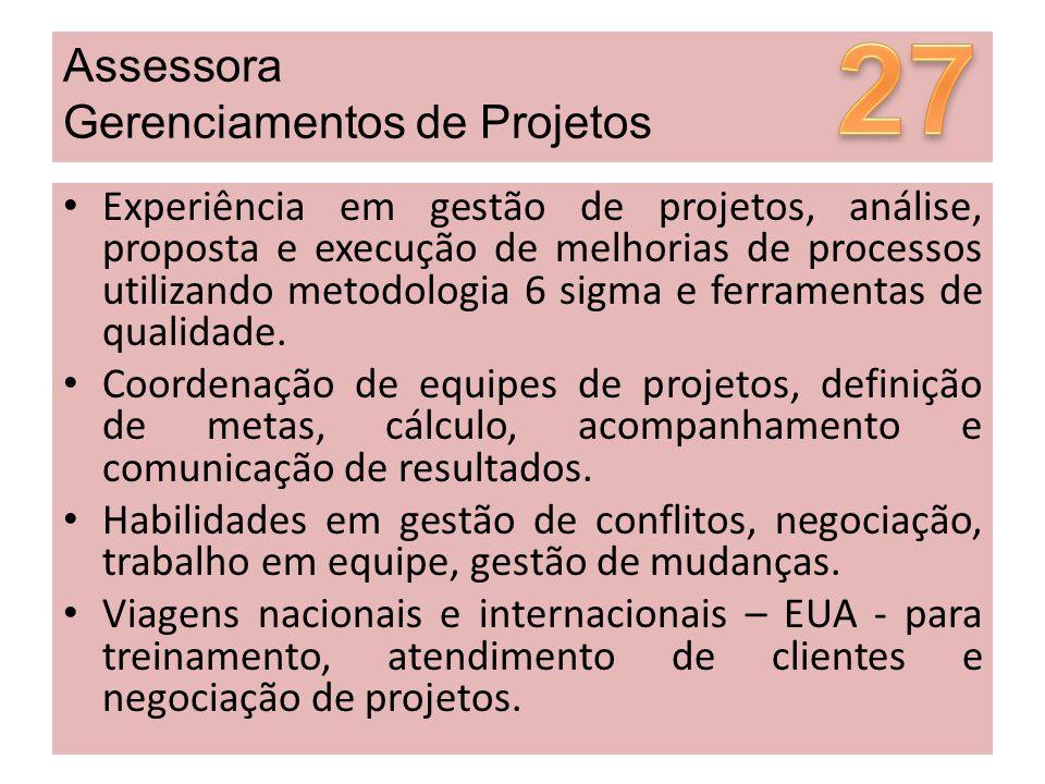 27 Assessora Gerenciamentos de Projetos