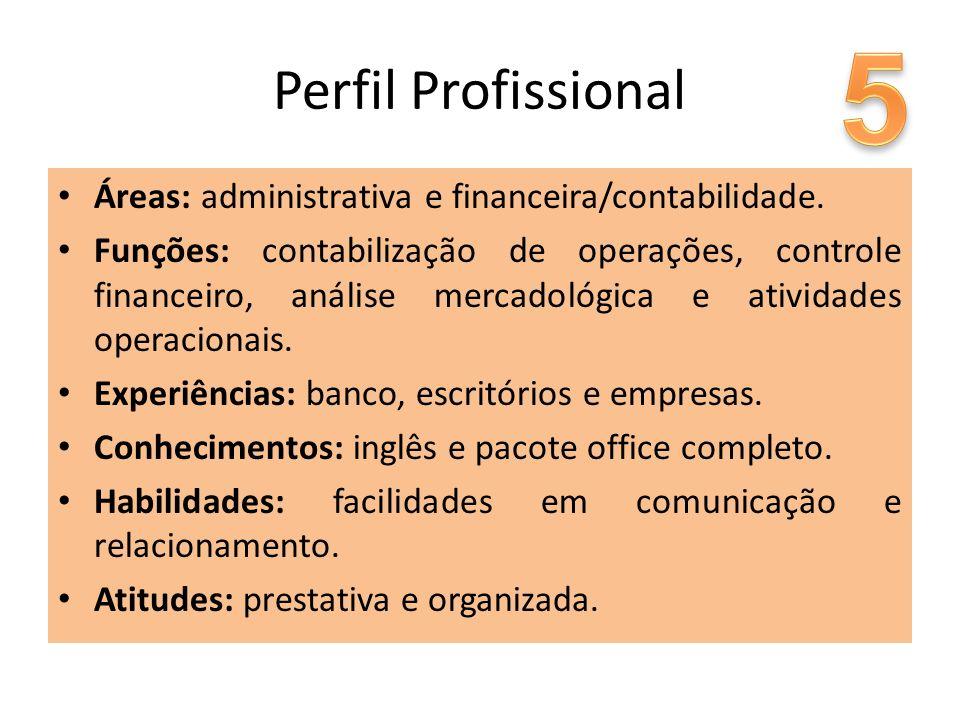 5 Perfil Profissional. Áreas: administrativa e financeira/contabilidade.