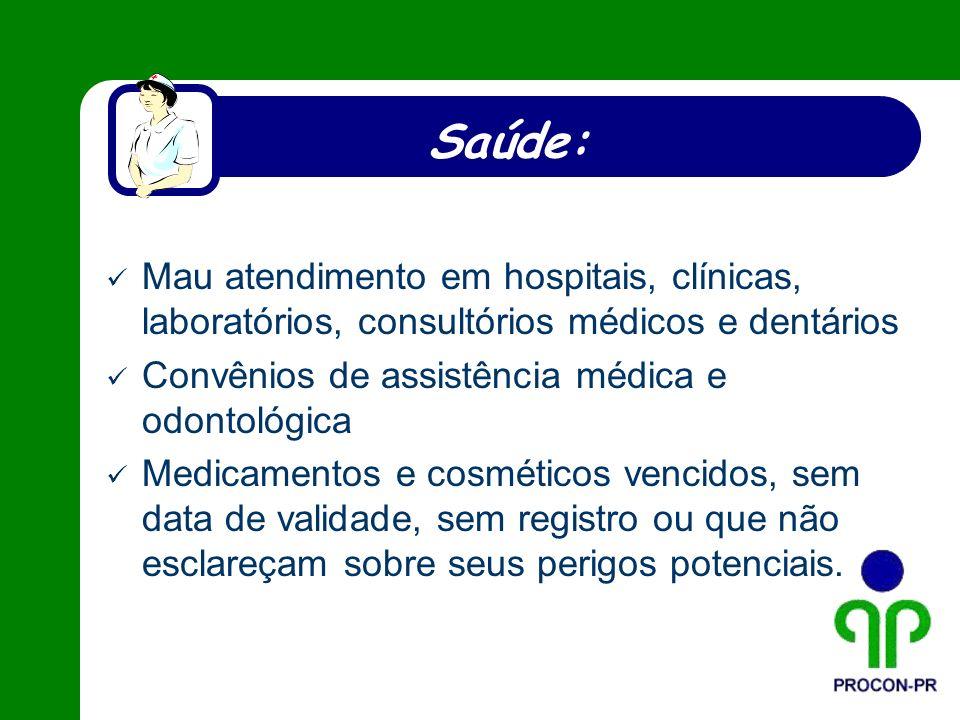 Saúde: Mau atendimento em hospitais, clínicas, laboratórios, consultórios médicos e dentários. Convênios de assistência médica e odontológica.