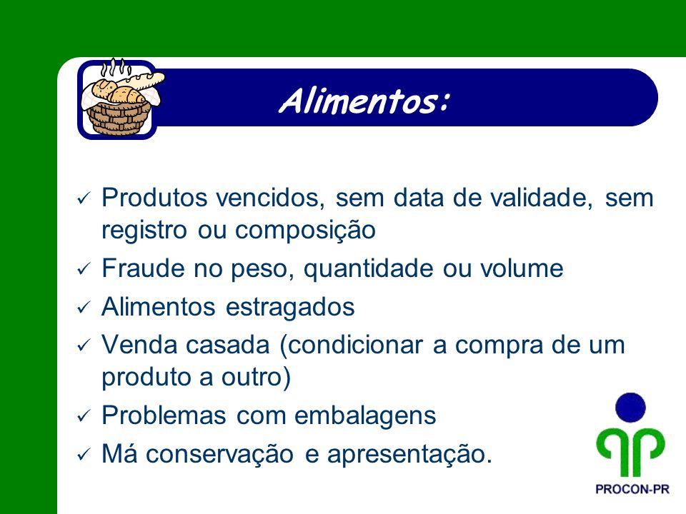 Alimentos: Produtos vencidos, sem data de validade, sem registro ou composição. Fraude no peso, quantidade ou volume.