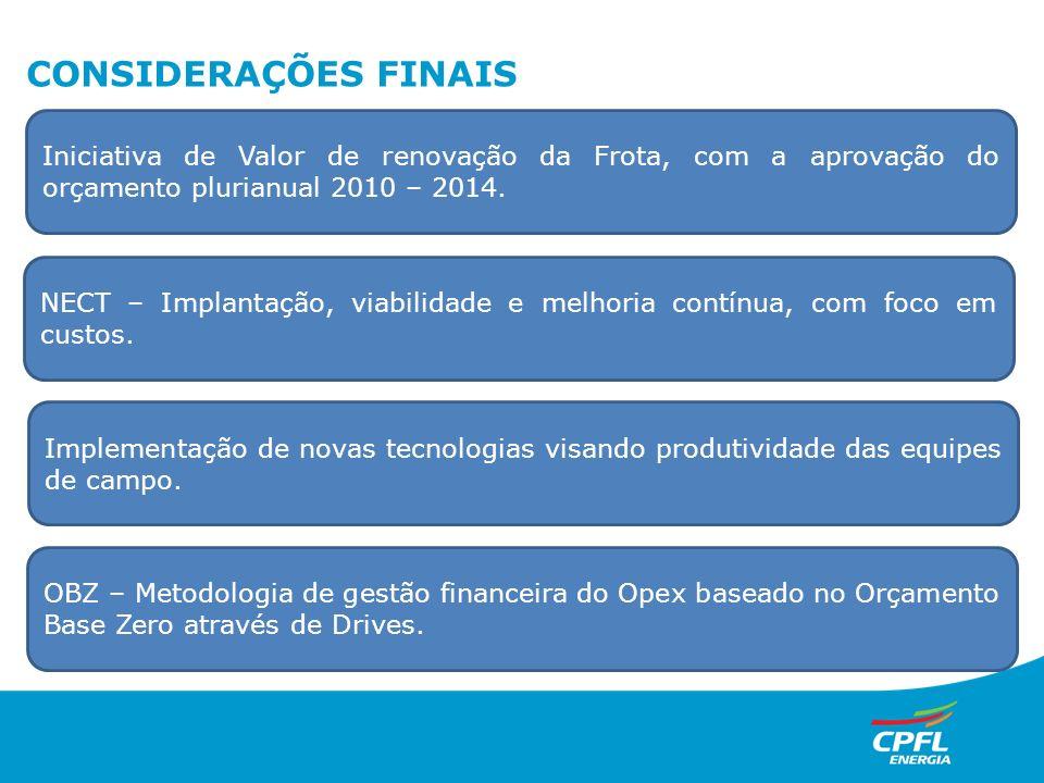 CONSIDERAÇÕES FINAIS Iniciativa de Valor de renovação da Frota, com a aprovação do orçamento plurianual 2010 – 2014.