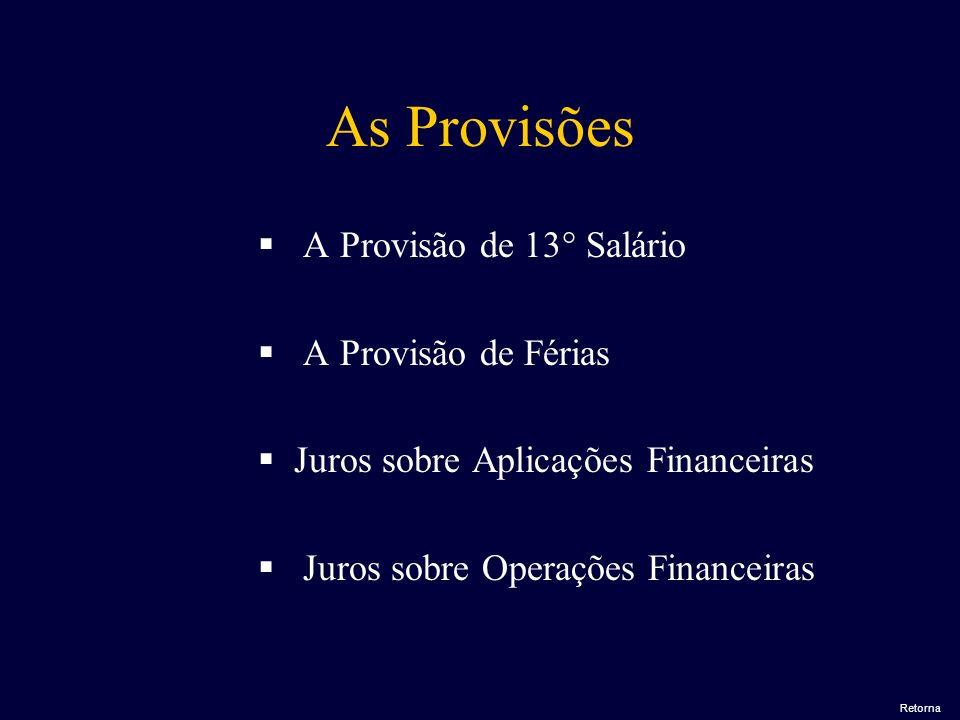 As Provisões A Provisão de 13° Salário A Provisão de Férias