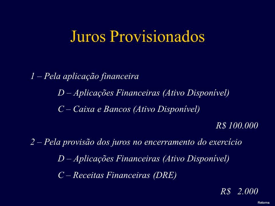 Juros Provisionados 1 – Pela aplicação financeira