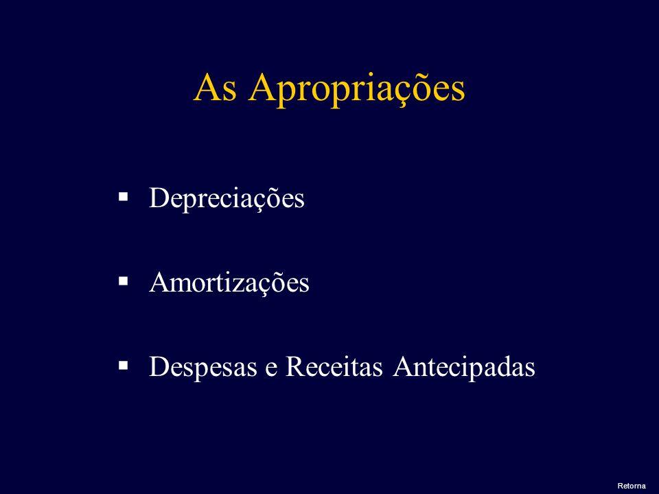 As Apropriações Depreciações Amortizações