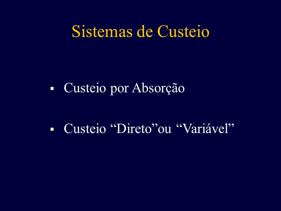 Sistemas de Custeio Custeio por Absorção Custeio Direto ou Variável