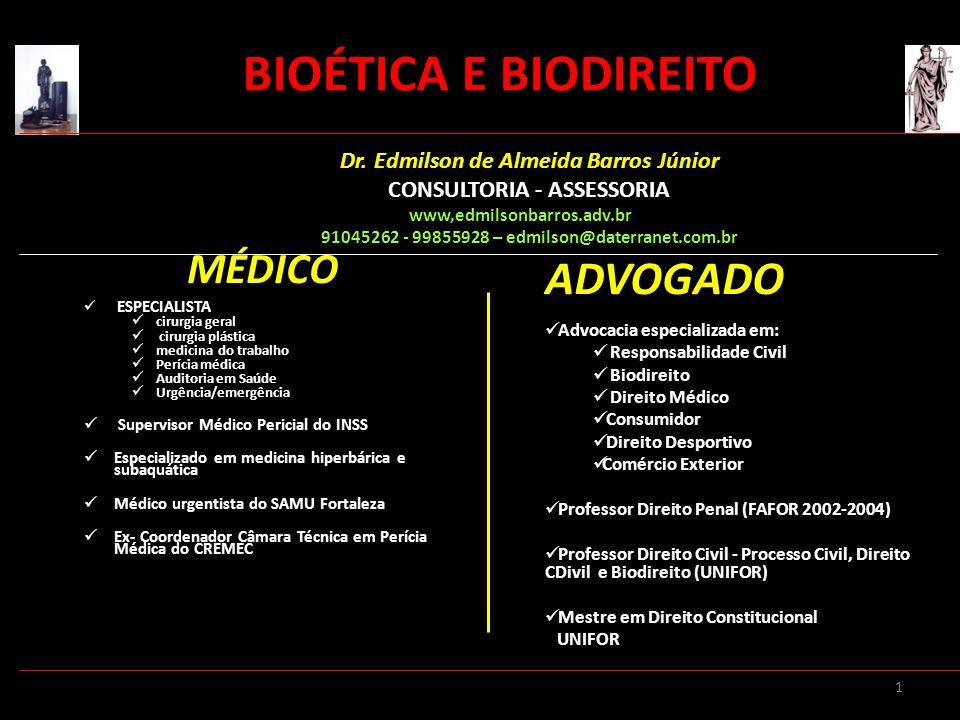 BIOÉTICA E BIODIREITO ADVOGADO MÉDICO