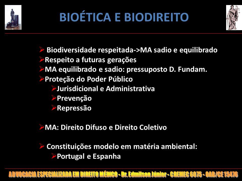 BIOÉTICA E BIODIREITO Biodiversidade respeitada->MA sadio e equilibrado. Respeito a futuras gerações.