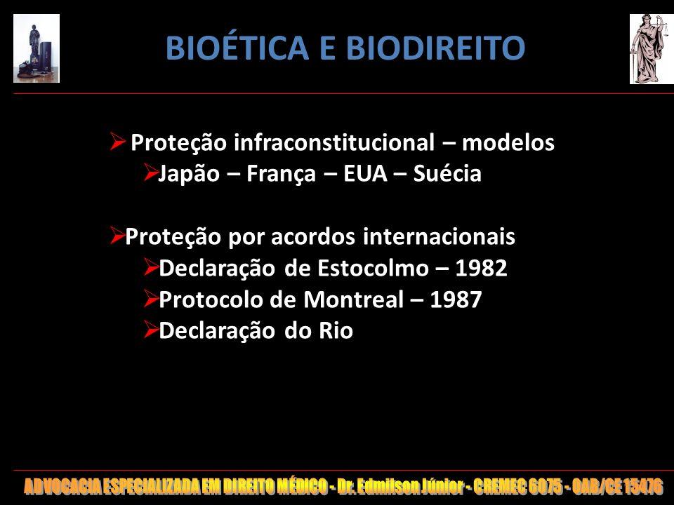 BIOÉTICA E BIODIREITO Proteção infraconstitucional – modelos