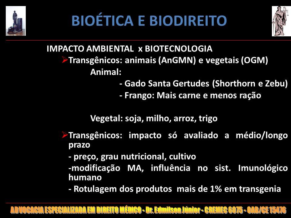 BIOÉTICA E BIODIREITO IMPACTO AMBIENTAL x BIOTECNOLOGIA