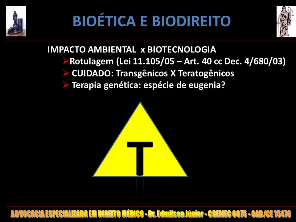 T BIOÉTICA E BIODIREITO IMPACTO AMBIENTAL x BIOTECNOLOGIA