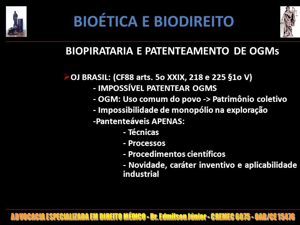 BIOPIRATARIA E PATENTEAMENTO DE OGMs