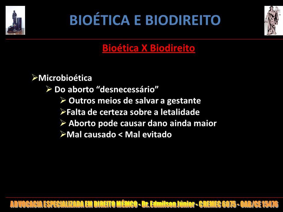 BIOÉTICA E BIODIREITO Bioética X Biodireito Microbioética
