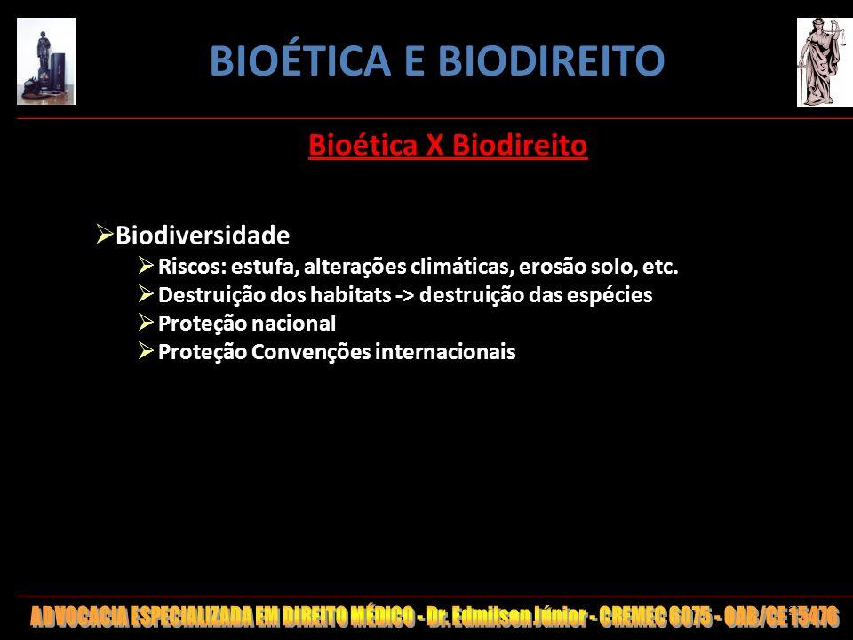 BIOÉTICA E BIODIREITO Bioética X Biodireito Biodiversidade