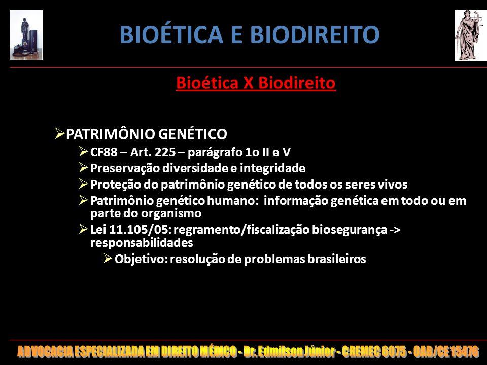 BIOÉTICA E BIODIREITO Bioética X Biodireito PATRIMÔNIO GENÉTICO