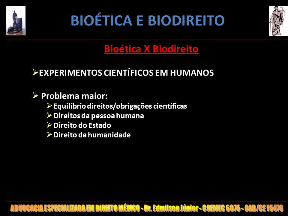 BIOÉTICA E BIODIREITO Bioética X Biodireito