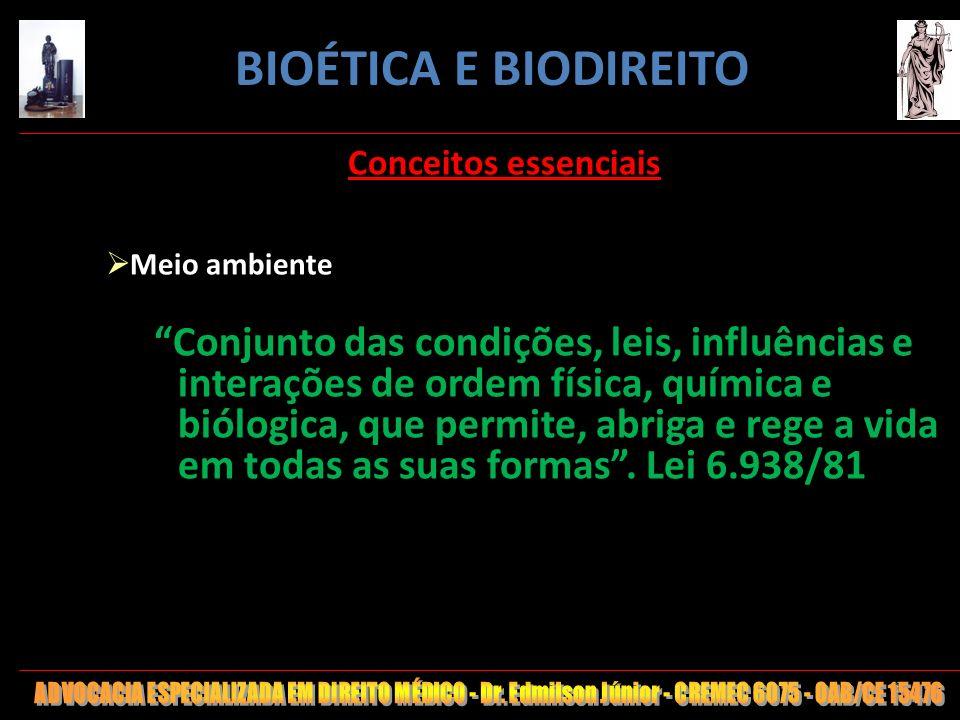 BIOÉTICA E BIODIREITO Conceitos essenciais. Meio ambiente.