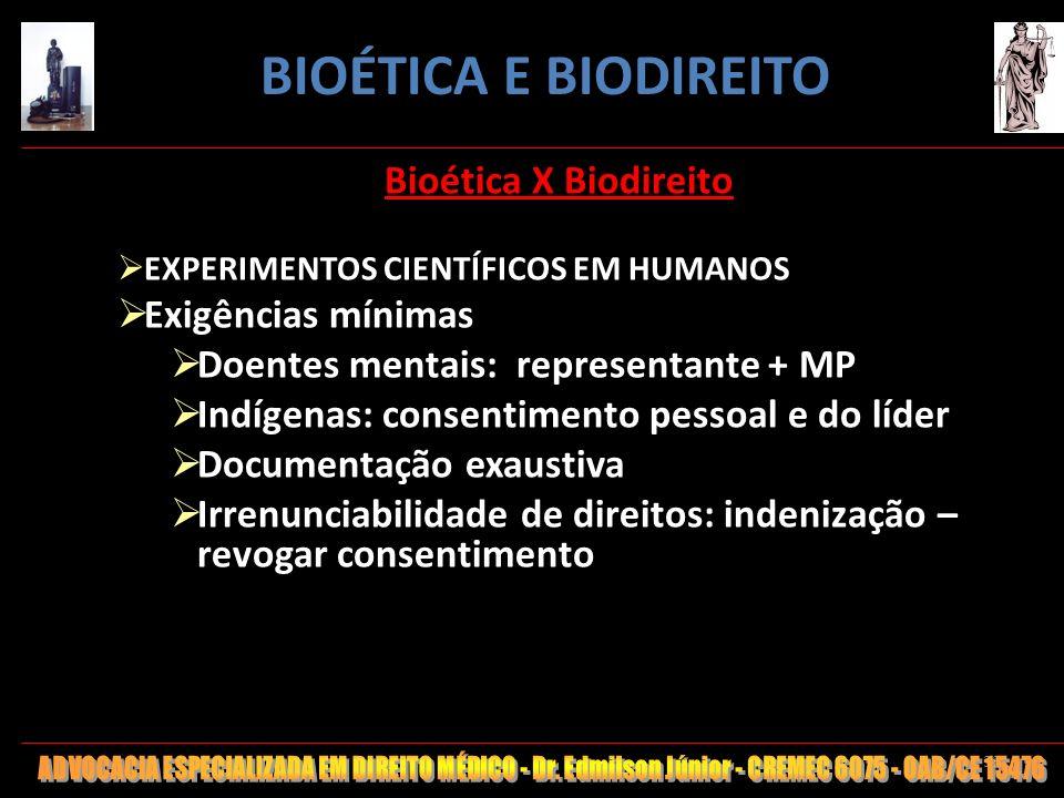 BIOÉTICA E BIODIREITO Bioética X Biodireito Exigências mínimas