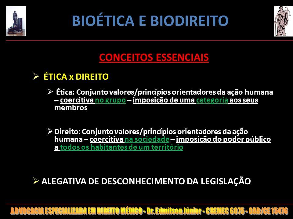 BIOÉTICA E BIODIREITO CONCEITOS ESSENCIAIS ÉTICA x DIREITO