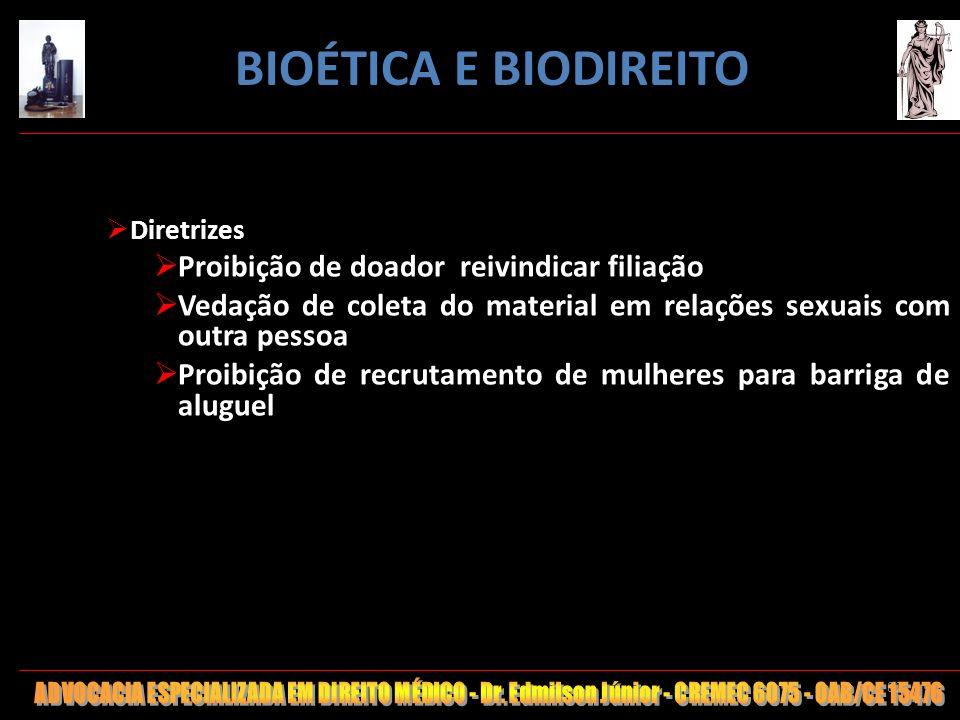 BIOÉTICA E BIODIREITO Proibição de doador reivindicar filiação