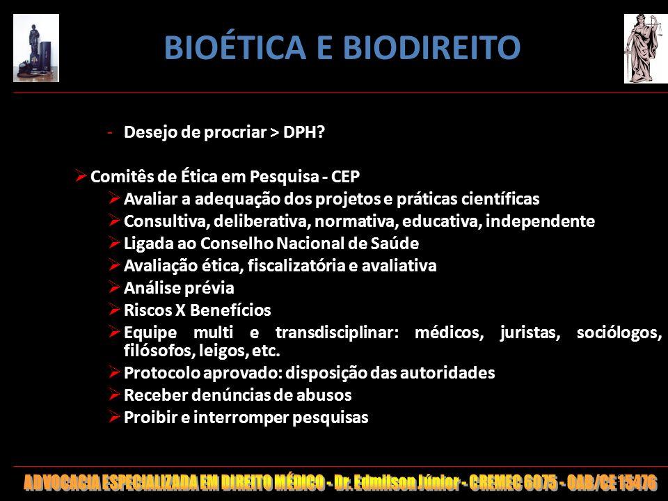 BIOÉTICA E BIODIREITO Desejo de procriar > DPH