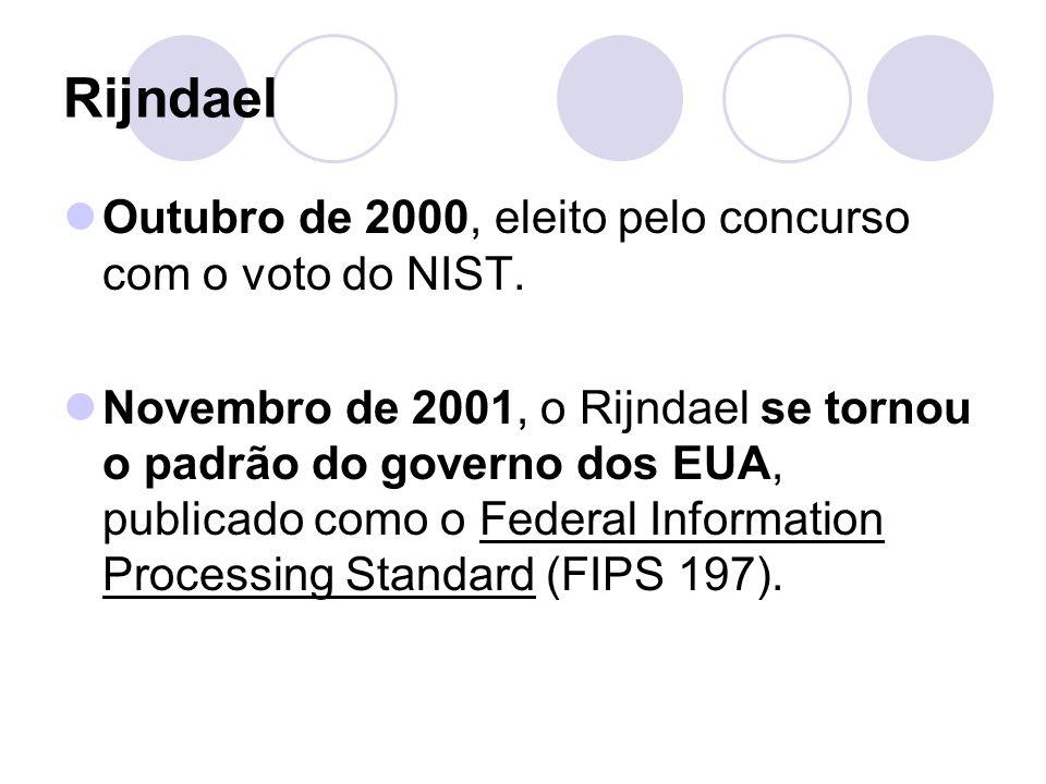 Rijndael Outubro de 2000, eleito pelo concurso com o voto do NIST.