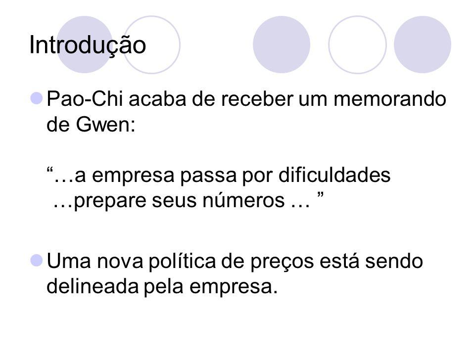 Introdução Pao-Chi acaba de receber um memorando de Gwen: …a empresa passa por dificuldades …prepare seus números …