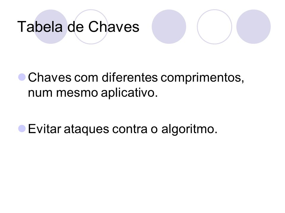 Tabela de Chaves Chaves com diferentes comprimentos, num mesmo aplicativo.