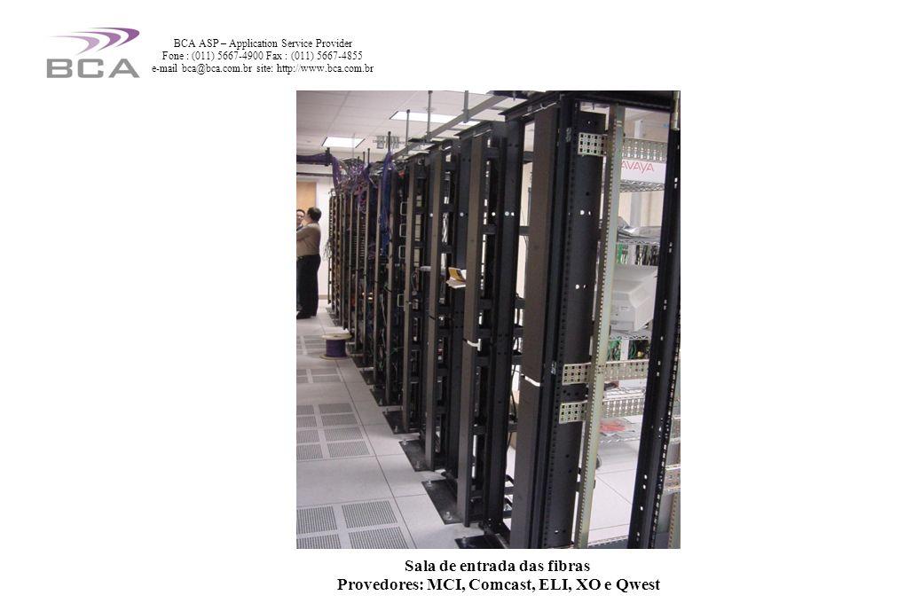 Sala de entrada das fibras Provedores: MCI, Comcast, ELI, XO e Qwest