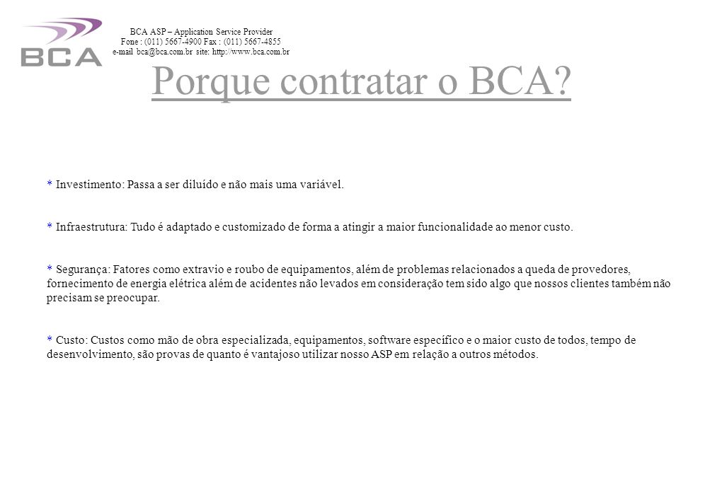 BCA ASP – Application Service Provider