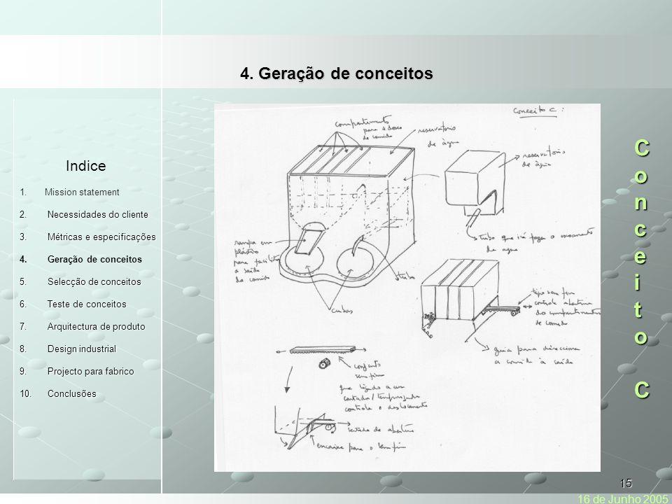 Conceito C 4. Geração de conceitos Indice 16 de Junho 2005