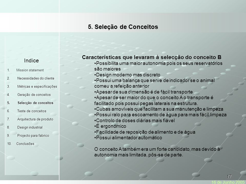 5. Seleção de Conceitos Indice
