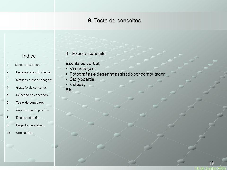 6. Teste de conceitos Indice 4 - Expor o conceito Escrita ou verbal;