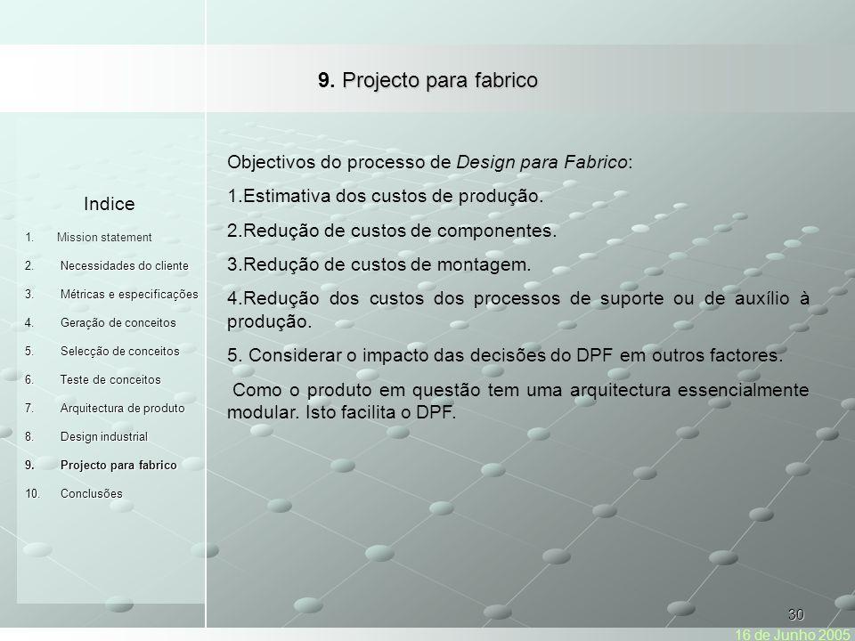 9. Projecto para fabrico Indice. Mission statement. Necessidades do cliente. Métricas e especificações.