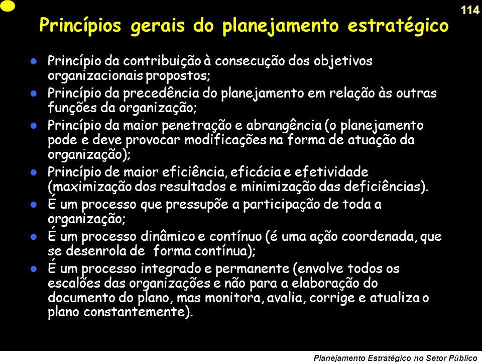 Princípios gerais do planejamento estratégico