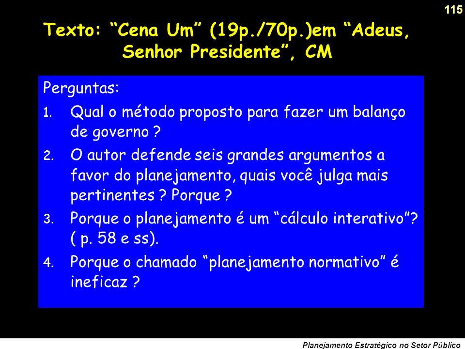 Texto: Cena Um (19p./70p.)em Adeus, Senhor Presidente , CM