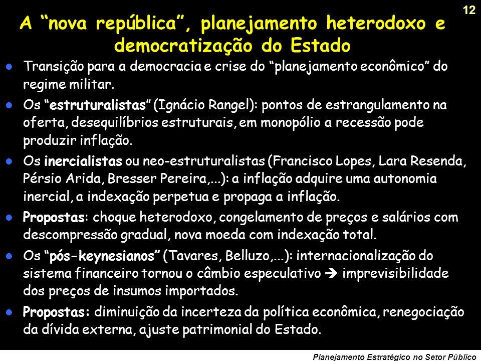 A nova república , planejamento heterodoxo e democratização do Estado