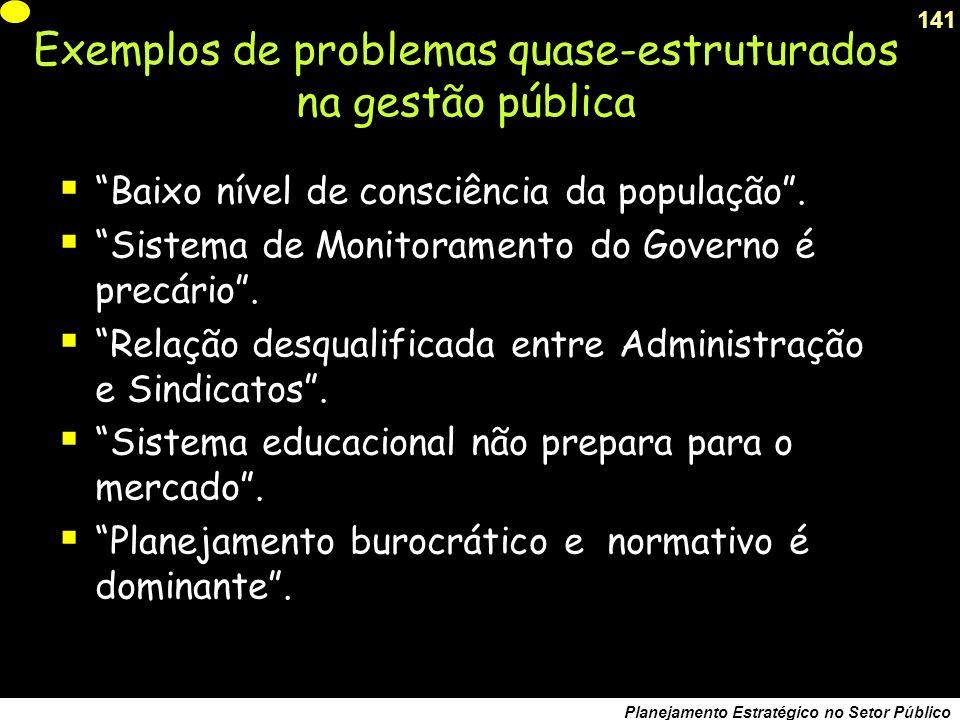 Exemplos de problemas quase-estruturados na gestão pública