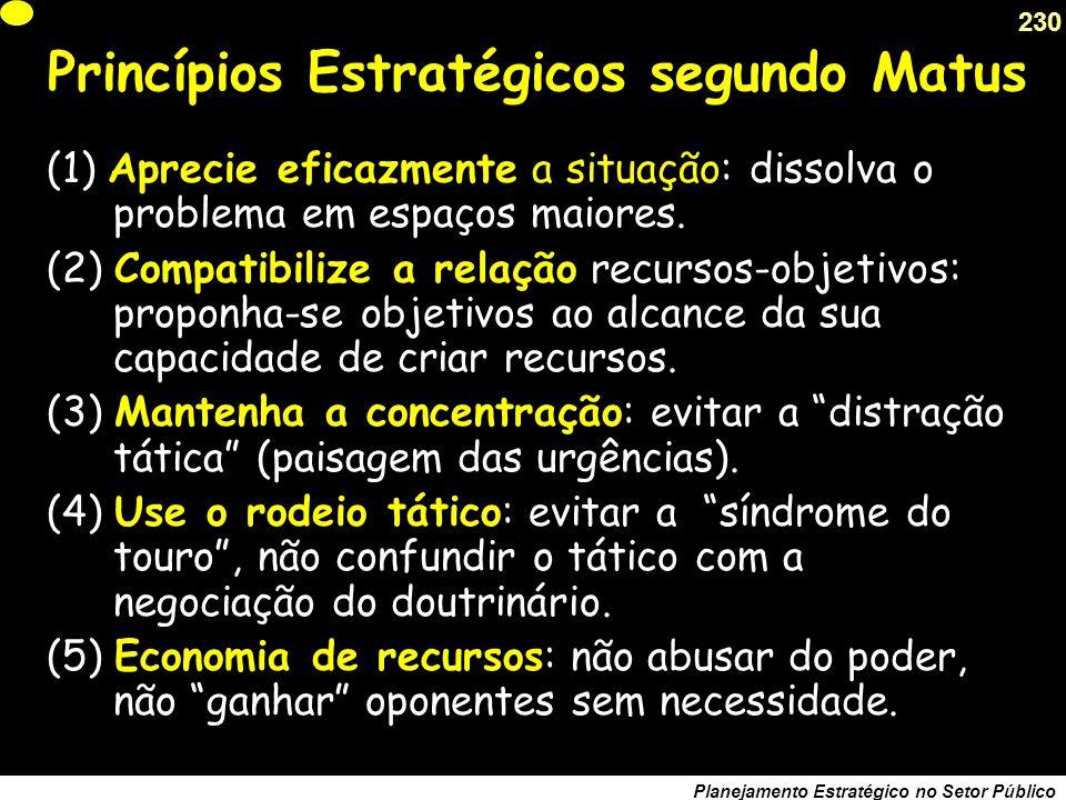 Princípios Estratégicos segundo Matus