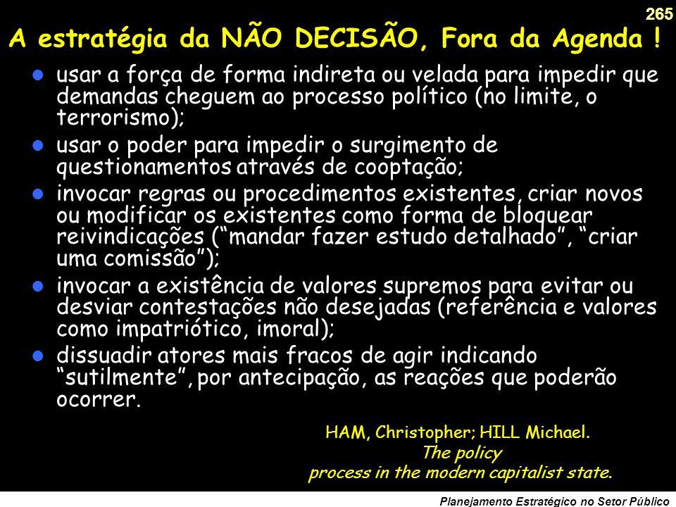 A estratégia da NÃO DECISÃO, Fora da Agenda !