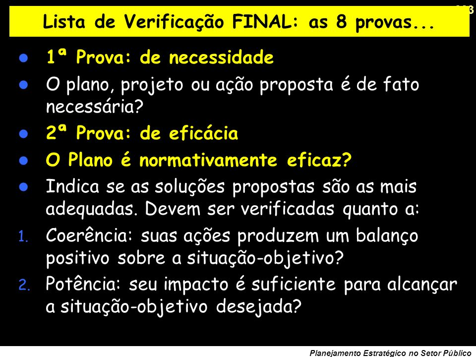 Lista de Verificação FINAL: as 8 provas...