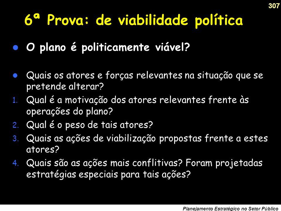 6ª Prova: de viabilidade política