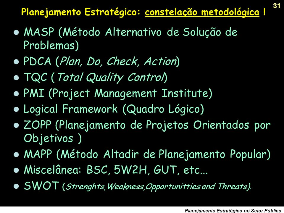 Planejamento Estratégico: constelação metodológica !