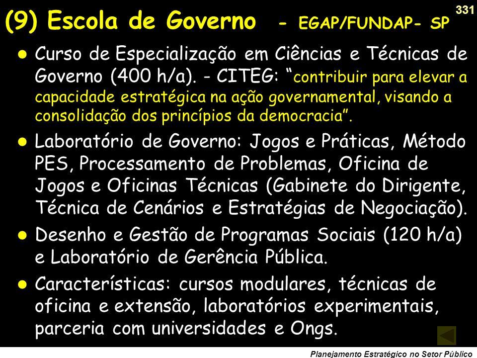 (9) Escola de Governo - EGAP/FUNDAP- SP