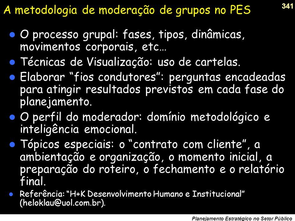 A metodologia de moderação de grupos no PES