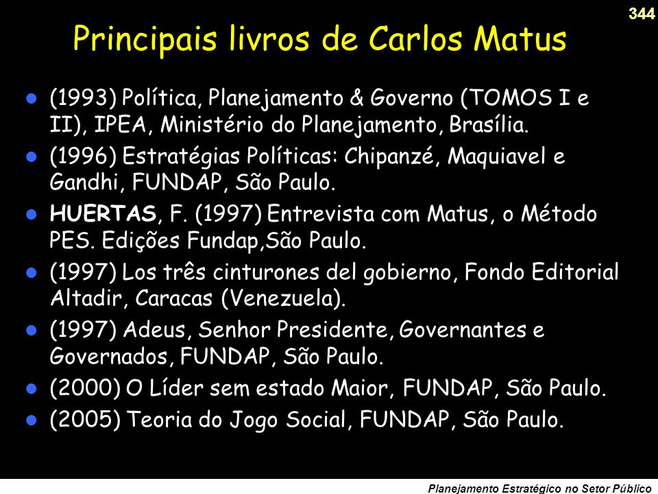 Principais livros de Carlos Matus