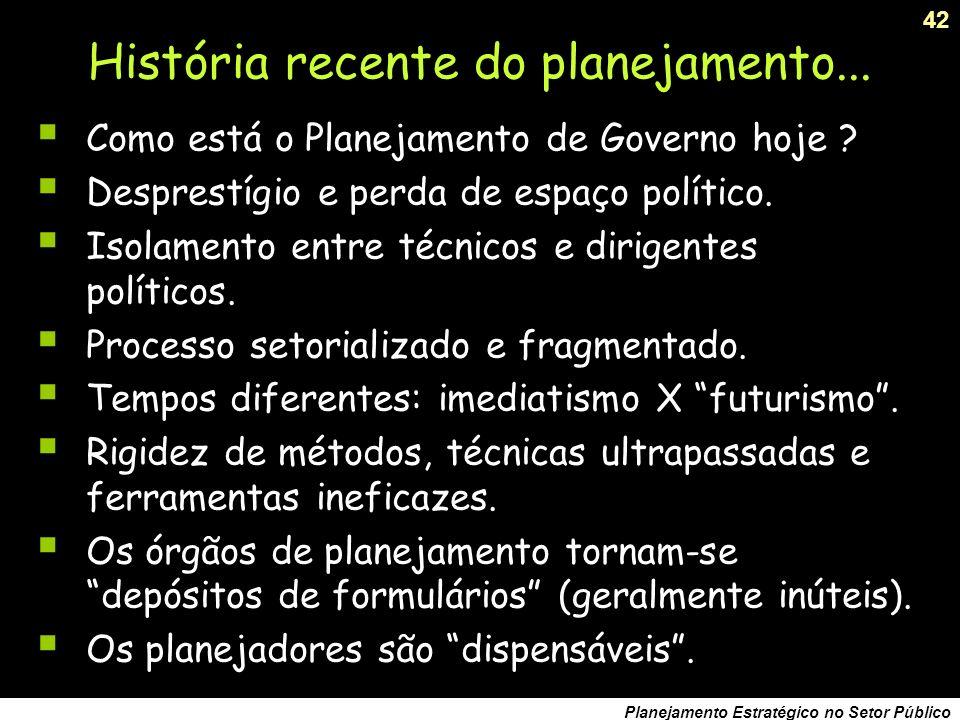 História recente do planejamento...