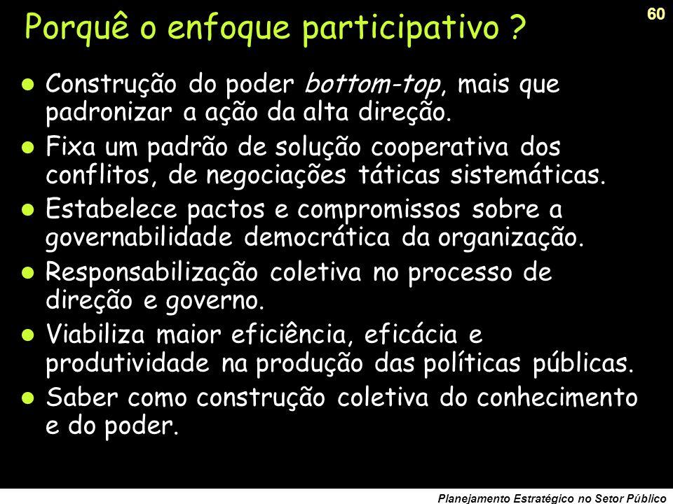 Porquê o enfoque participativo